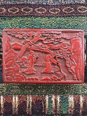 Antique 19th C. Chinese Hand Carved Cinnabar Lacquer Box