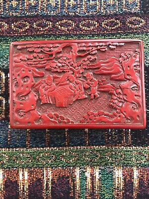 Antique 19th C. Hand Carved Chinese Cinnabar Lacquer Trinket Box