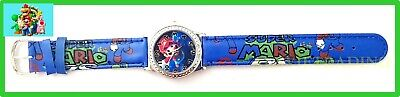 new Super Mario GAMES Boys girls Kids Watch time cartoon Toy faux leather band