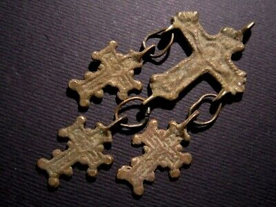 Extremely Rare Post Byzantine, Medieval Period Bronze Cross Pendant Set+++