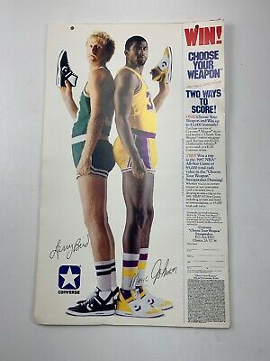 "1986 Larry Bird Magic Johnson 11.25""x18.75"" Converse Shoes Poster Ad Sweepstakes"