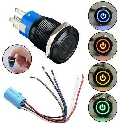 19mm 12V LED Waterproof ON-OFF Power Symbol Car Push Button Switch Latch Toggle