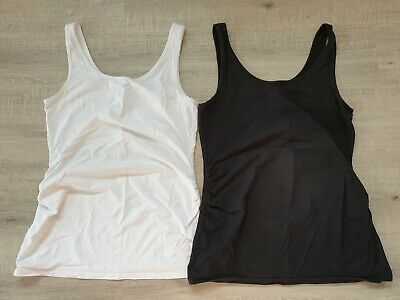 Size 10, Small Jeans West Maternity Singlet Tank Top Black and White Pack