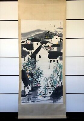 Chinese Antique Hand painted Calligraphy and Painting of Housing Scenery