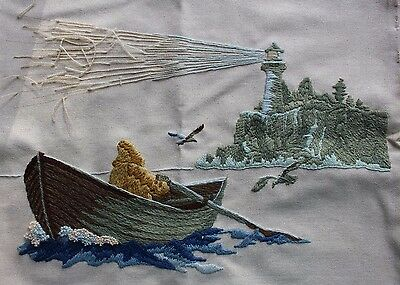 Nautical Lighthouse Row Boat Sea Gulls Crewel Embroidery Completed Finished
