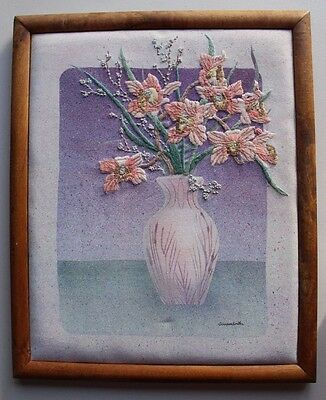 Summer Orchids by Elsa Williams Vase Pink Flowers Crewel Embroidery Completed