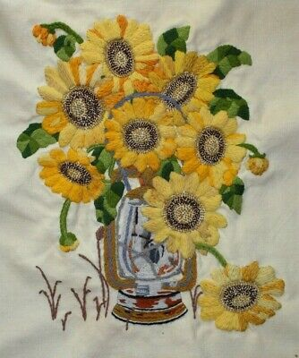 Paragon Sunflowers in Lantern Carolyn Barrani Crewel Embroidery Completed Finish