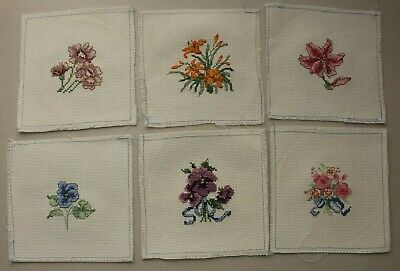 Set Lot of 6 Flowers Roses Lillies Pansies Cross Stitch Completed Finished