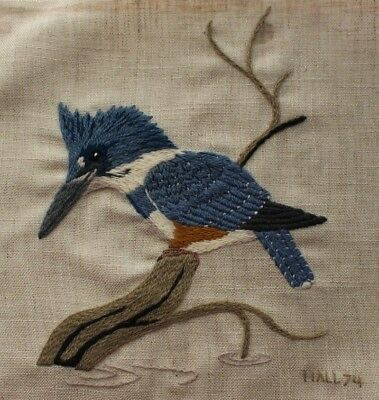Vintage Blue Belted Kingfisher Crewel Embroidery Completed Finished