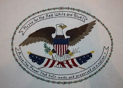 Vintage American Eagle and Flag Crewel Embroidery Completed Finished