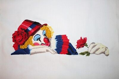 """Vtg 1980's Bucilla """"Clown In Repose"""" Crewel Embroidery Completed Finished Rose"""