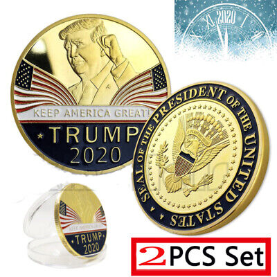 2PCS Donald Trump 2020 Keep America Great Commemorative Metal Challenge Coin