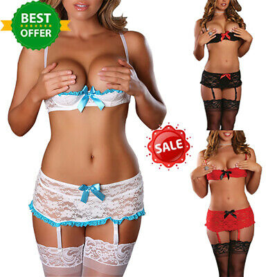 Women Sexy Sissy Lace G-String Bra Set Ladies Babydoll Lingerie Thong Underwear
