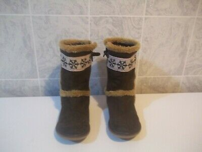 girls brown fleece lined boots from baron schuhe size UK 11 infant in g worn con