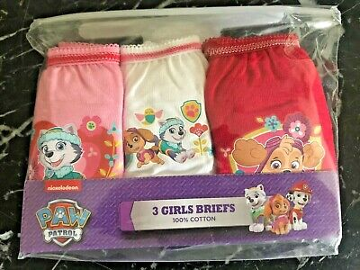 Girls Paw Patrol 3 Pack Pants Knickers Briefs Age 4-5 yrs Cotton Pink White Red