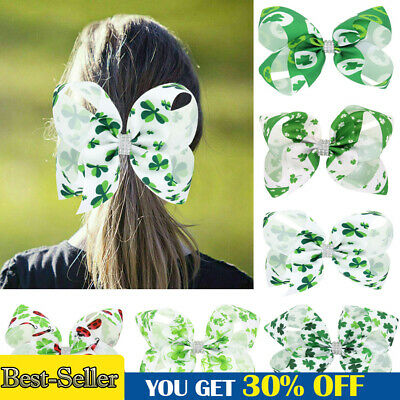 Fancy St Patrick's Shamrock Hairpin Kids Green Clover Hair Clip Bow Satin Bands