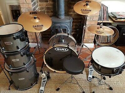 Mapex Drum Kit Sabian Cymbals Stands Stool Pedal. Complete. Excellent condition