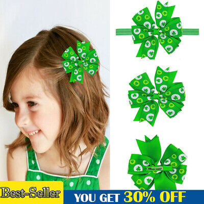 St Patrick's Day Shamrock Headband Bow Hairpin Hair Clip Fancy Party Accessories