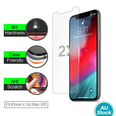 2X Genuine 9H Tempered Glass Screen Protector Apple iPhone 11 Pro Max XS Max XR