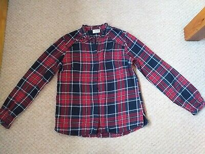 Next Girls red and navy blue tarten check blouse top age 12 years