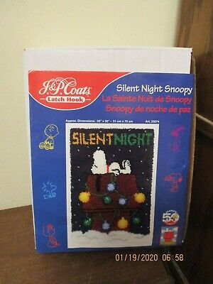 """Peanuts Snoopy """"SILENT NIGHT"""" J&P Coats Latch Hook Kit Preowned Unsealed"""