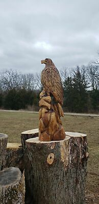 Chainsaw Carved Eagle with fish, Eagle Wood Carving of Eagle and fish. Chainsaw