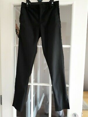 Next Boys Stretch Skinny Black Slim Fit School Trousers Age 12 - VG Condition
