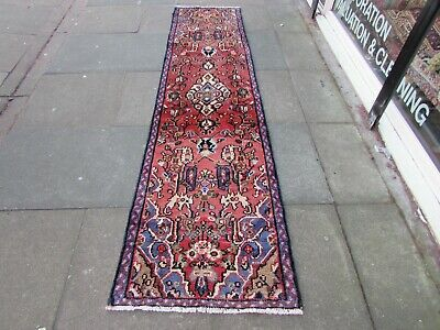 Vintage Traditional Hand Made Oriental Blue Pink Red Wool Long Runner 272x73cm