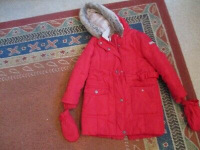 Jasper Conran/Debenhams Girls Age 5/6 Years Red Hooded Coat With Mits Excellent