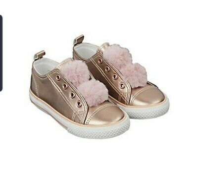 ☆☆ Bnwt Mothercare Girls Pumps Rose Gold Kid's Size Uk 8 Infant With Pom Pom ☆☆