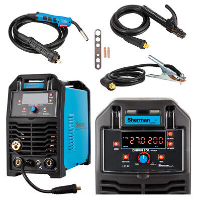 Sherman DIGIMIG 200 Synergy Double Pulse Welder Inverter MIG MAG MMA TIG Brazing