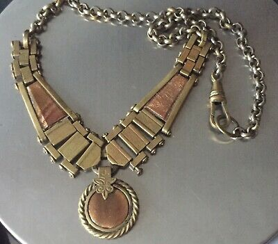 Victorian Albertine Watch Chain Gilded Bronze Early Goldstone Inserts Necklace