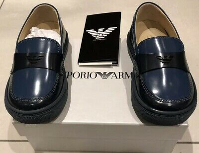 Armani Boys Navy Blue Shoes Loafers Size 21 New RRP £190