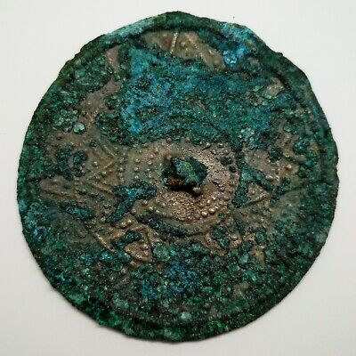Bronze Mirror Pendant / Solar sign / Coin 66mm. Viking 500-800AD. Rare
