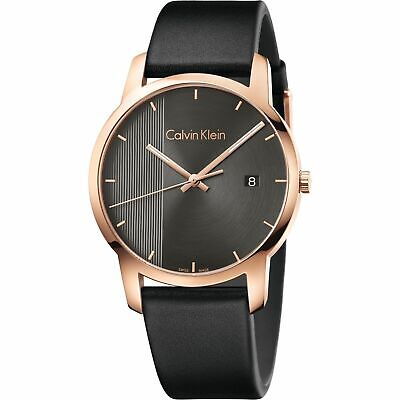 Calvin Klein Men's Quartz Watch K2G2G6C3 -Black Strap /Stainless Steel Gold Case