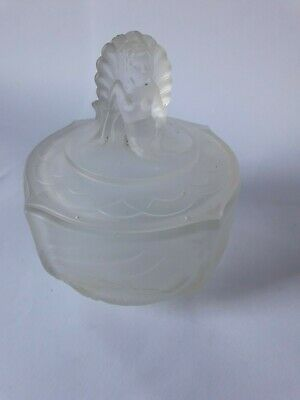 Art Deco Walther clear frosted glass Nymphen large trinket pot