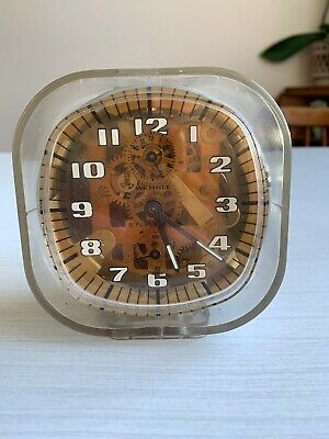 VINTAGE WEHRLE ALARM CLOCK WIND UP MECHANISM ALARM Plexi Retro 80's Transparent