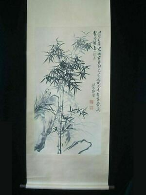 """Very Large Chinese Old Hand Painted Bamboos Scroll Painting """"ZhengBanQiao"""" Marks"""