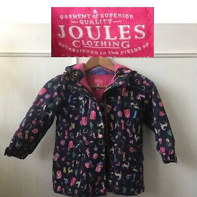 Joules Girl's Horse Design Coat Age 4 Years Shower Proof Navy & Pink Mix