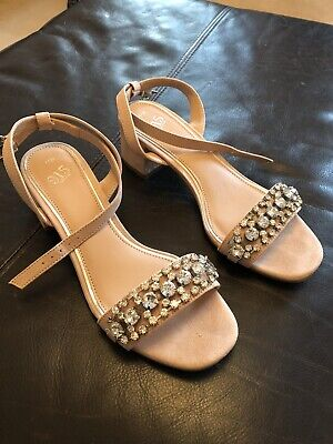 Girls New Look 915 Pale Pink Diamante Sandals Size 4