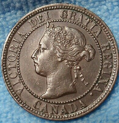 1899 AU High Grade CANADA LARGE CENT Victoria COIN CANADIAN..