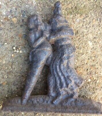 Reclaimed Antique Heavy Cast Iron Witch Strangling A Man Door Stop Book End Fire