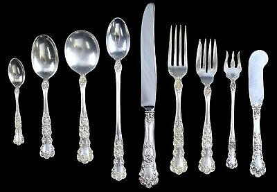 77 Pc Gorham Buttercup Sterling Flatware Set Svc 8 NO RESERVE 1952g Not Scrap