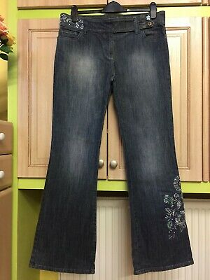 NEXT 💗 very pretty  blue bootcut jeans trousers size 14 long cotton denim.