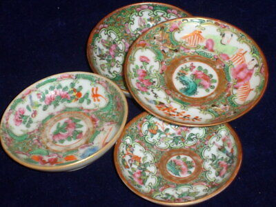 4 Antique Chinese Rose Medallion Salts - Butter Plates