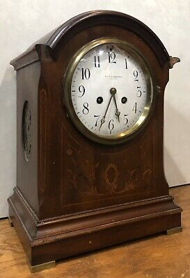 Black Starr & Frost New York French Vincenti H&H Inlaid Marquetry Mantel Clock