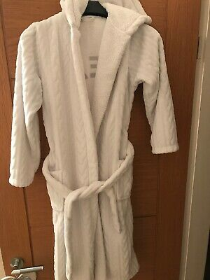 M&S Girls Age 11 - 12 Years White Fluffy Dream Dressing Gown Christmas Hooded