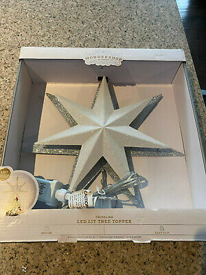 Lighted Star Tree Topper LED White Glitter Silver Twinkling Wondershop NEW