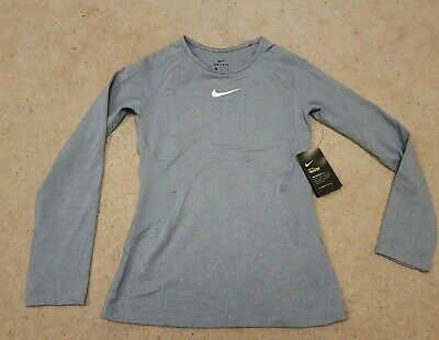 Girls Nike Pro Warm Sports Top Grey Large Size New with Tags