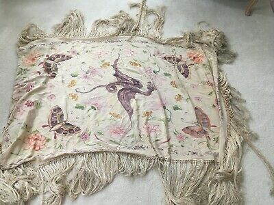 ANTIQUE HAND Painted  IVORY SILK PIANO SCARF WITH LONG FRINGE 65 X 36